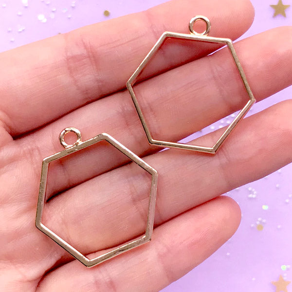 Hexagon Open Bezel for UV Resin Jewelry Making | Geometric Charm | Geometry Outline Pendant (2 pcs / Gold / 29mm x 31mm / 2 Sided)
