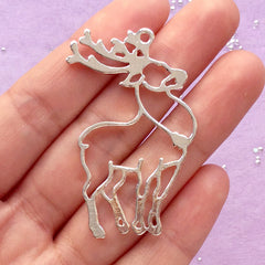 Reindeer Open Back Bezel for UV Resin Filling | Forest Animal Charm | Hollow Deer Pendant | Kawaii Christmas Jewelry Supplies (1 piece / Silver / 30mm x 49mm)