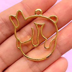 Kawaii Open Bezel for UV Resin | Bunny Charm | Rabbit Pendant | Cute Deco Frame for Resin Filling (1 piece / Gold / 31mm x 33mm)