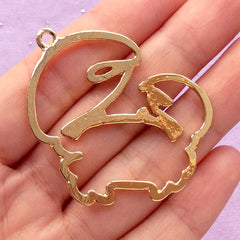 Cancer Open Back Bezel for UV Resin Art | Outlined Crab Charm | Astrology Pendant | Zodiac Sign Jewellery DIY (1 piece / Gold / 43mm x 43mm)