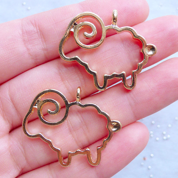 Hollow Sheep Open Back Bezel Charms | Farm Animal Pendant | Merino Charm | Cute Deco Frame for Kawaii UV Resin Jewellery Making (2pcs / Gold / 30mm x 25mm)