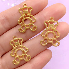 Bear Doll Open Bezel Charm | Animal Toy Pendant | Kawaii Deco Frame | UV Resin Jewelry Supplies (3 pcs / Gold / 16mm x 24mm)