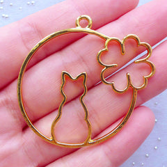 Cat and Four Leaf Clover Open Bezel Charm | Open Back Frame for UV Resin Filling | Kawaii Animal Pendant (1 piece / Gold / 44mm x 43mm)