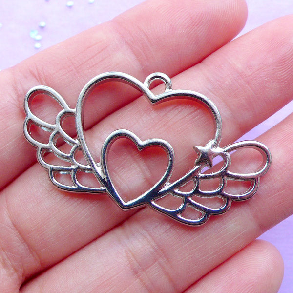 Magical Winged Heart Open Bezel Charm | Double Heart with Angel Wing Pendant | Kawaii UV Resin Crafts (1 piece / Silver / 41mm x 23mm)