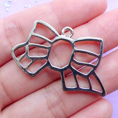 Open Back Bezel for UV Resin Filling | Striped Ribbon Charm | Kawaii Jewelry DIY (1 piece / Silver / 39mm x 23mm)