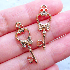 Mini Heart Key Open Bezel | Tiny Magical Wand Charm | Mahou Kei Jewelry Making | Kawaii Craft Supplies (2pcs / Gold / 10mm x 28mm)