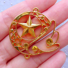 Magical Girl Open Bezel Pendant | Kawaii Star and Angel Wing Charm | Mahou Kei Deco Frame for UV Resin Jewelry Making (1 piece / Gold / 37mm x 36mm)