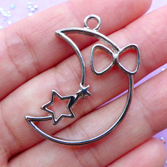 Kawaii Moon and Star Open Bezel Pendant | Fairy Kei Deco Frame for UV Resin Crafts | Mahou Kei Jewellery Making (1 piece / Silver / 25mm x 35mm)