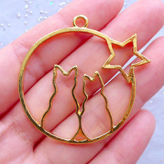 Cat Couple and Star Open Bezel Charm | Kawaii Kitty Deco Frame for UV Resin Jewelry Making | Resin Craft Supplies (1 piece / Gold / 44mm x 43mm)