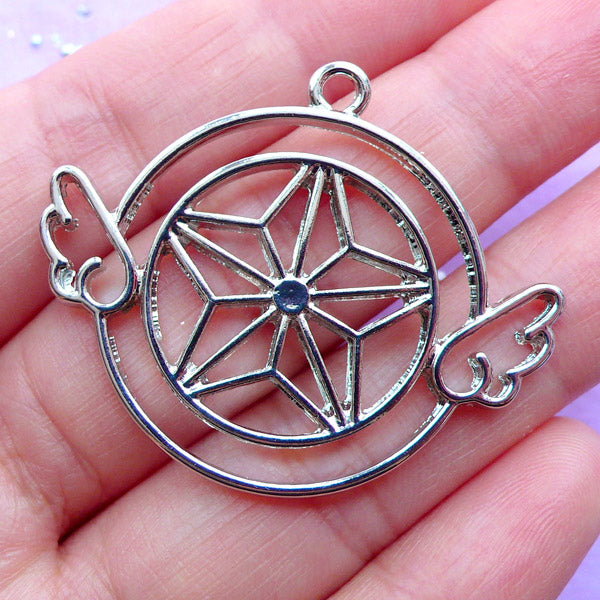 Mahou Kei Open Bezel Pendant for UV Resin Filling | Kawaii Star with Angel Wing Charm | Winged Star Deco Frame (1 piece / Silver / 40mm x 33mm)