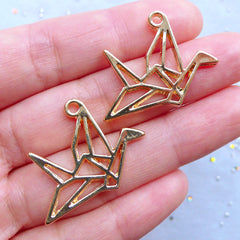 Origami Crane Open Backed Bezel | Animal Bird Charm | Deco Frame for Kawaii UV Resin Jewelry Making (2pcs / Gold / 29mm x 23mm)