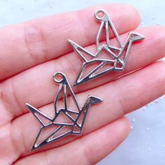 Origami Crane Open Bezel Charm | Bird Pendant | Animal Charm | Cute Deco Frame for UV Resin Art (2pcs / Silver / 29mm x 23mm)