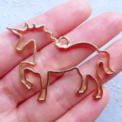 Unicorn Open Back Bezel Pendant | Fairytale Animal Charm | Magical Deco Frame for Kawaii UV Resin Craft (1 piece / Gold / 50mm x 37mm)