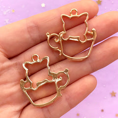 Kitty in a Coffee Cup Open Back Bezel Charm | Kitten Pendant | Cat Deco Frame for UV Resin Filling | Kawaii Craft Supplies (2pcs / Gold / 29mm x 30mm)
