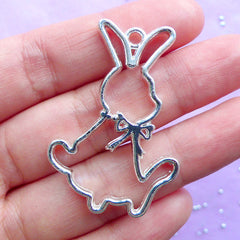 Rabbit Toy Open Bezel Pendant | Bunny Deco Frame for UV Resin Jewelry DIY | Kawaii Easter Charm (1 piece / Silver / 29mm x 43mm)