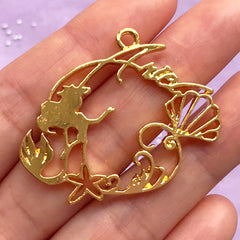 Mermaid Princess Open Backed Bezel Charm | UV Resin Craft Supplies | Kawaii Fairytale Jewelry DIY (1 piece / Gold / 40mm x 33mm)