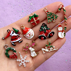 Assorted Christmas Enamel Charms | Santa Claus Jingle Bells Christmas Tree Candy Cane Noel Wreath Snowflake Snowman Reindeer Gift Box (11pcs)