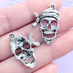 Pirate Skeleton Charms Skull Charm (4pcs) (19mm x 27mm / Tibetan Silver) Pendant Bracelet Earrings Zipper Pulls Bookmarks Keychains CHM173