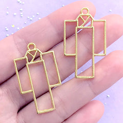 Kimono Open Back Bezel | Japanese Garment Charm | Yukata Charm | Deco Frame for UV Resin Filling | Kawaii Craft Supplies (2 pcs / Gold / 21mm x 36mm)