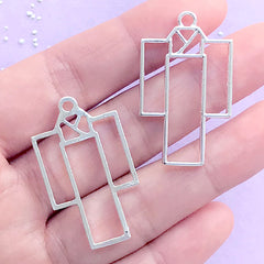 Japanese Kimono Open Bezel Charm | Yukata Deco Frame | UV Resin Crafts | Kawaii Jewelry Making (2 pcs / Silver / 21mm x 36mm)