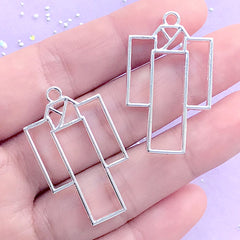 CLEARANCE Japanese Kimono Open Bezel Charm | Yukata Deco Frame | UV Resin Crafts | Kawaii Jewelry Making (2 pcs / Silver / 21mm x 36mm)