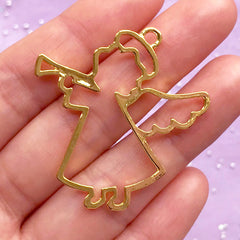 Angel with Trumpet Open Backed Bezel | Kawaii Christmas Jewellery Supplies | Deco Frame Charm for UV Resin Filling (1 piece / Gold / 38mm x 40mm)