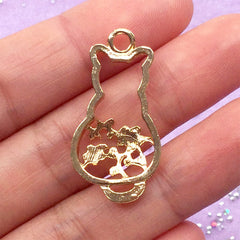 Kawaii Kitty Open Backed Bezel with Flower Pattern | Cat Deco Frame for UV Resin Jewellery Making | Kitten Charm (1 piece / Gold / 16mm x 31mm)