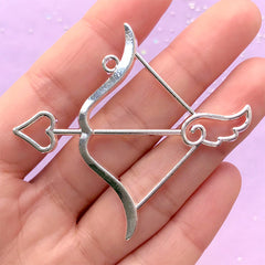 Zodiac Symbol Open Bezel | Sagittarius Horoscope Pendant | Bow and Arrow Charm | Constellation Jewellery Supplies (1 piece / Silver / 58mm x 53mm)