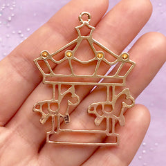 Carousel Open Bezel Pendant | Merry Go Round Charm | Kawaii Deco Frame for UV Resin Jewelry Making (1 piece / Gold / 37mm x 48mm)