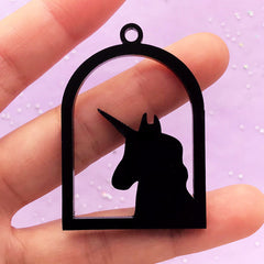 Acrylic Open Bezel Charm | Unicorn Pendant | Black Deco Frame for UV Resin Filling | Kawaii Jewelry Supplies (1 piece / Black / 34mm x 49mm / 2 Sided)