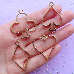 Playing Card Suit Open Bezel Charm | Kawaii Deco Frame for UV Resin Crafts | Alice in Wonderland Jewellery Supplies (4pcs / Gold)