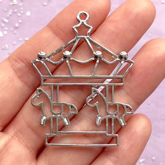 Merry Go Round Open Bezel Charm | Carousel Pendant | Cute Deco Frame | UV Resin Jewellery | Kawaii Craft Supplies (1 piece / Silver / 37mm x 48mm)