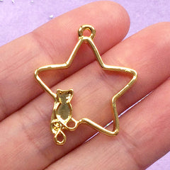 Kawaii Star and Cat Open Bezel Pendant | Magical Deco Frame for UV Resin Crafts | Mahou Kei Jewellery Making (1 piece / Gold / 24mm x 29mm)