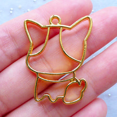 Kawaii Dog Open Backed Bezel Charm | Cartoon Puggy Pendant | UV Resin Craft Supplies | Outlined Pet Deco Frame (1 piece / Gold / 24mm x 32mm)