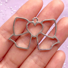 Ribbon with Heart Open Bezel Pendant | Kawaii Jewelry DIY | UV Resin Craft Supplies (1 piece / Silver / 42mm x 26mm)