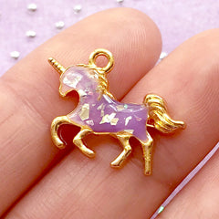 Small Unicorn Bezel Charm | Mythical Creature Pendant for UV Resin Painting | Magical Girl Jewelry Supplies (4pcs / Gold / 21mm x 15mm)