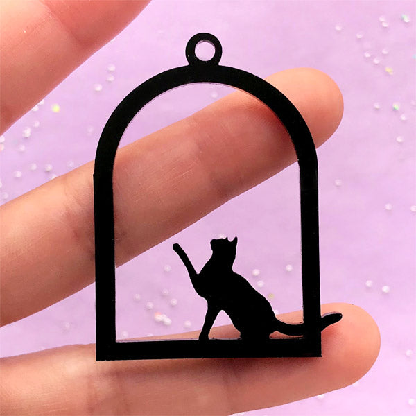 Acrylic Kitty Open Bezel Pendant | Cat in Bird Cage Charm | Cute Deco Frame for UV Resin Jewelry Making (1 piece / Black / 34mm x 49mm / 2 Sided)