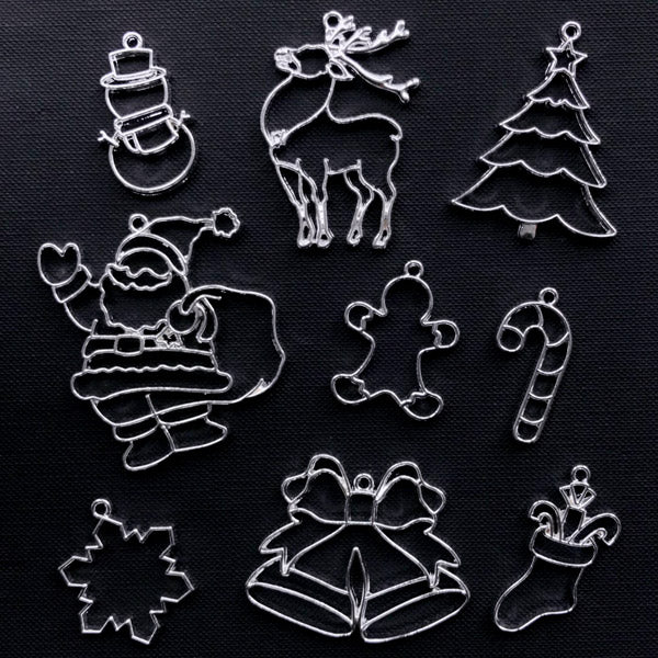 Assorted Christmas Open Back Bezel Charms | Snowflake Candy Cane Christmas Tree Gingerbread Man Santa Claus Snowman Reindeer Stocking Jingle Bell Pendant (9pcs / Silver)
