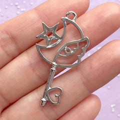 Moon with Wing Magic Wand Open Bezel Pendant | Magical Girl Key Charm | Kawaii UV Resin Jewelry DIY (1 piece / Silver / 23mm x 42mm)