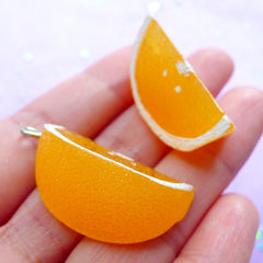 3D Orange Slice Charms | Fake Food Jewelry Making | Kawaii Fruit Pendant | Chunky Charm Supplies (2pcs / 17mm x 36mm / 3D)
