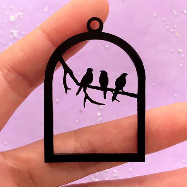 Acrylic Bird Cage Open Backed Bezel Pendant | Bird on Branch Charm | UV Resin Jewellery Supplies (1 piece / Black / 34mm x 49mm / 2 Sided)