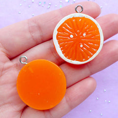 Orange Slice Charms | Faux Food Pendant | Resin Fruit Cabochon | Kawaii Chunky Jewellery Supplies (2pcs / 27mm x 32mm / Flat Back)