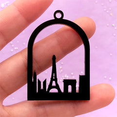 Paris Silhouette Acrylic Open Bezel | Eiffel Tower Charm | UV Resin Jewellery Making | Deco Frame for Resin Filling (1 piece / Black / 34mm x 49mm / 2 Sided)