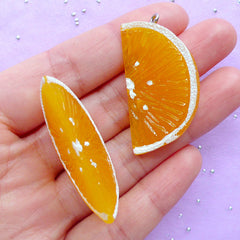 Orange Charms in 3D | Fake Orange Slice Cabochons | Fruit Charm | Kawaii Chunky Pendant | Decoden Supplies (2pcs / 21mm x 40mm / 3D)