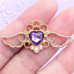 Magical Girl Open Bezel with Heart Rhinestone | Angel Wings Charm | Winged Heart Pendant | UV Resin Craft (1 piece / Purple & Gold / 41mm x 19mm)