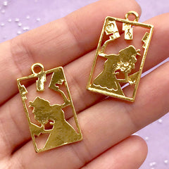 Alice in Wonderland Playing Card Open Bezel | Kawaii Charm Supplies | UV Resin Jewelry Making (2 pcs / Gold / 16mm x 28mm)