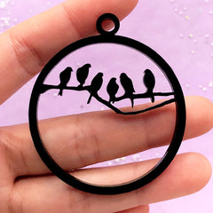 Birds on Branch Open Backed Bezel Charm | Round Acrylic Deco Frame | UV Resin Jewelry Supplies (1 piece / Black / 48mm x 54mm / 2 Sided)