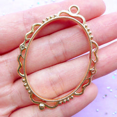 Oval Deco Frame for UV Resin Crafts | Art Frame Charm with Decorative Border | Kawaii Open Bezel Supplies (1 piece / Gold / 40mm x 54mm / 2 Sided)