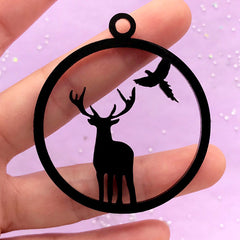 Acrylic Open Bezel for UV Resin Jewelry Making | Reindeer and Bird Charm | Deer Pendant | Round Deco Frame (1 piece / Black / 48mm x 54mm / 2 Sided)