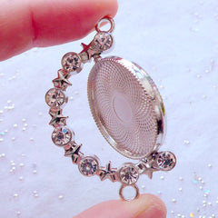 Rotating Bezel Pendant | Blank Bezel Tray with Rhinestones & Stars | Movable Bezel Cup | Round Bezel Setting Charm | UV Resin Jewelry Making (1 piece / Silver / 33mm x 48mm)